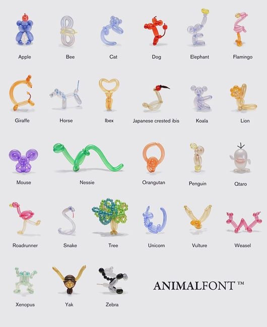 Alphabet made of balloon animals. From the animalfont app for iOS
