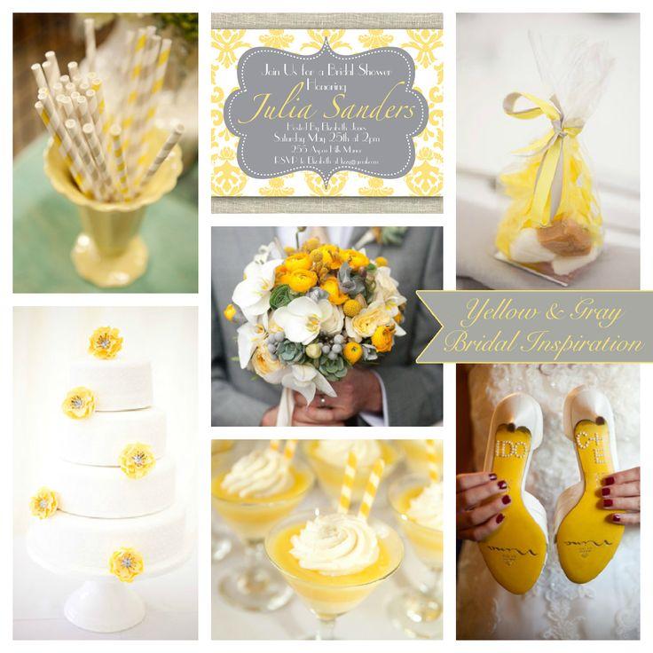Yellow Gray Wedding Inspiration Board Photo Sources Printable Yellow Gray Damask Invitation