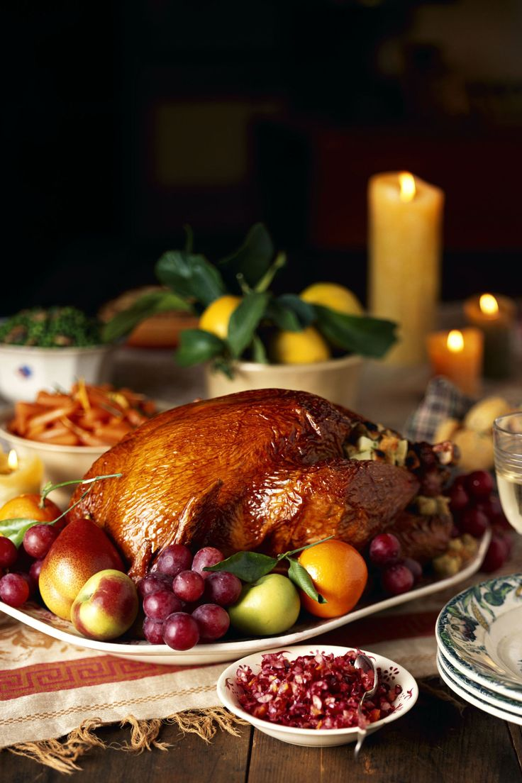 The lush color and rich harvest of autumn fruit—persimmons, pomegranates, and quinces—are incorporated in this Thanksgiving menu.