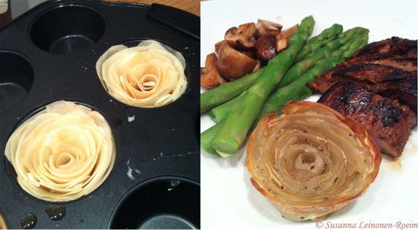 Potatisrosor med vitlök | Potato roses with garlic   #food #potato #roses #creative