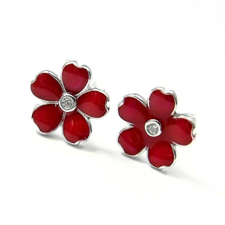 Kolczyki dla dzieci czerwone kwiatuszki - http://www.bizutik.pl/kolczyki-dla-dzieci-czerwone-kwiatuszki