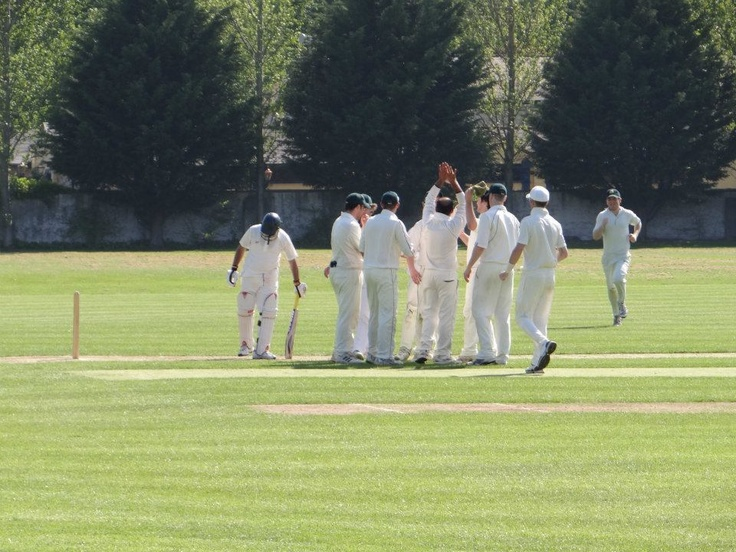 Cork County celebrate a wicket against Old Belvedere at Cabra #CCCC