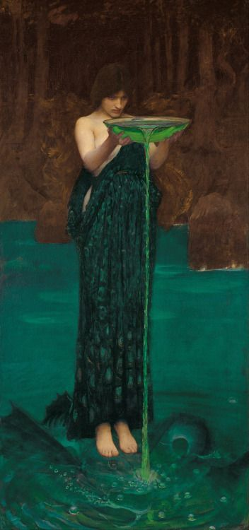 """At the request of the wonderful laclefdescoeurs, today I'm writing about John William Waterhouse's 1892 painting Circe Invidiosa. One of Waterhouse's defining features as a painter is what Christie's calls his """"particular brand of late, academic Pre-Raphaelitism."""" I might quibble, as the Tate does, that he only """"revived the literary themes popularised by the Pre-Raphaelites, though he was not Pre-Raphaelite in technique,"""" and indeed """"[h]is fondness for backgrounds conceived as blocks of…"""