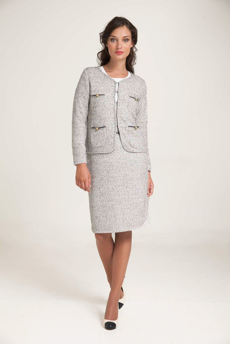 """Tweed cardigan in a lightweight knit with a """"heart"""" neckline. Trimmed front pockets with golden buttons. Concealed metal hook fastening. Combine with twin-set top and skirt for a total look. http://www.alexanderjacob.com/en/cardigans-bolero/148-tweed-cardigan.html"""