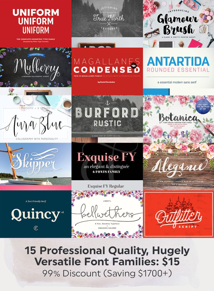 Wow. An amazing font bundle going on over on Design Cuts right now 6/3/15. It's only $15 for a TON of superb fonts. Deal!