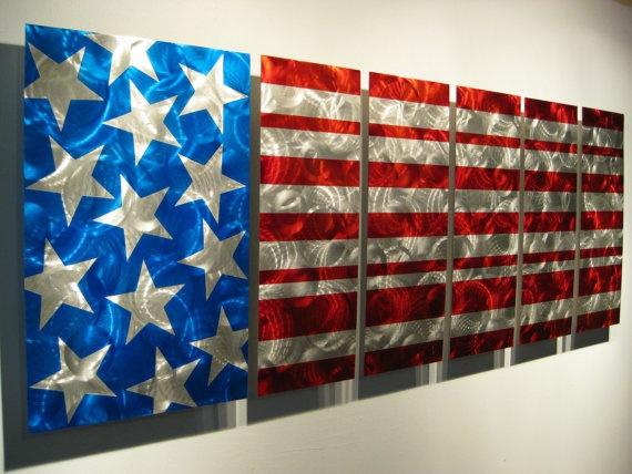 Modern Metal Art Home Decore American Flag by ResistThemMetalArt,