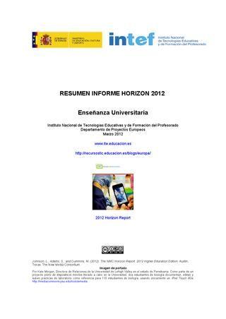 Informe Horizon 2012. Enseñanza Universitaria. Descripción tecnologías en Educación a 5 años.