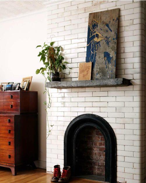 White fireplace.
