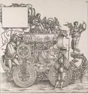 Albrecht Dürer workshop: Venetian war No. 89 (A.:91) woodcut, Triumphal procession of Emperor Maximilian I., ca. 1516 - 1519, currently attributed to Hans Springinklee (?), V&A Search the Collections