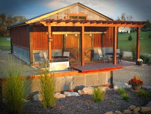 An Old World Style Barn With A Large Pergola Off The Front You Can Read How They Did It And Other Ideas Party Cr