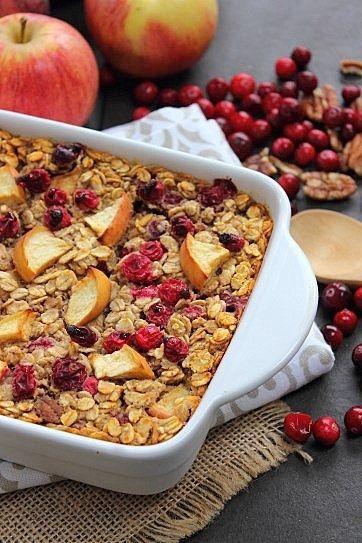 Baked Cranberry Apple Pecan Oats   vegan food & health   Pinterest