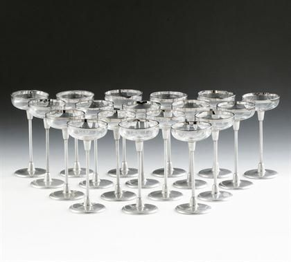 Elegant For Sale on Eighteen Liqueur Glasses Otto Wagner attributed Manufactured by August Filzamer Vienna in Colourless glass aluminium stand and steel H