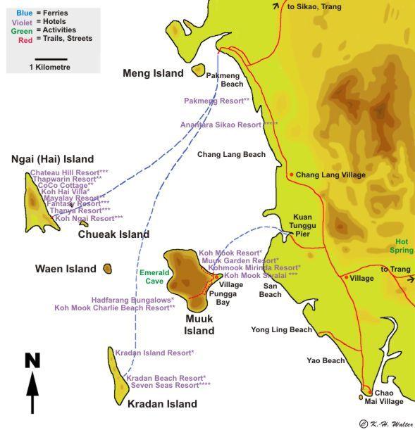 Koh Ngai (Trang) Thailand  city photos : Map of Trang Province with Koh Ngai, Ko Hai, Koh Mook, Ko Kradan and ...