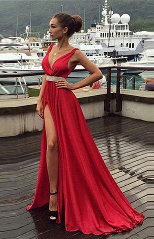 Dark Red Dress,Floor Length Evening Dress, Dress with Split Skirt,V…