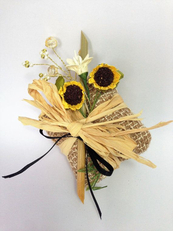 Rustic Wedding favour Sunflower favour Hessian by CraftCelebration