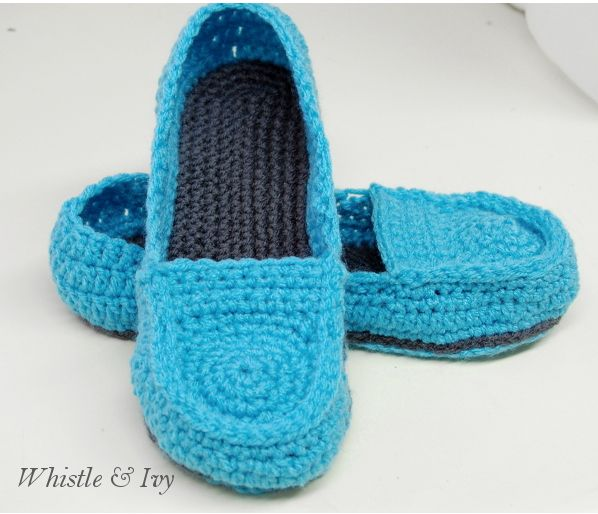 Whistle and Ivy: Women's Loafer Slippers Crochet Pattern free