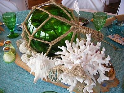 "Closeup of ""Seashells & Seaglass"" - love the beaded table cover."