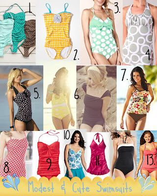 List of sites where you can find cute and modest swimsuits for reasonable prices. Check out the comment section for even more sites.