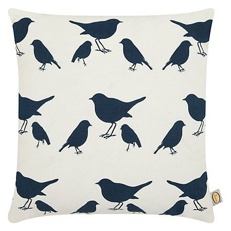 Buy Anorak Kissing Robins Cushion, Antique White / Navy Online at johnlewis.com