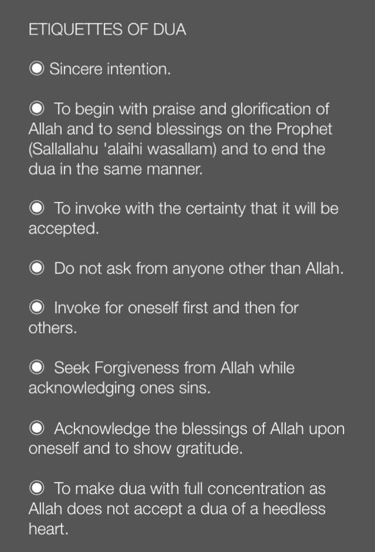 Etiquettes of Dua..