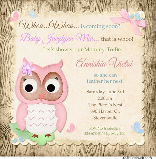 owl baby shower girl | Woodsy Pink Owl Shower Invitation - Little Girl Baby Pretty Bluebirds