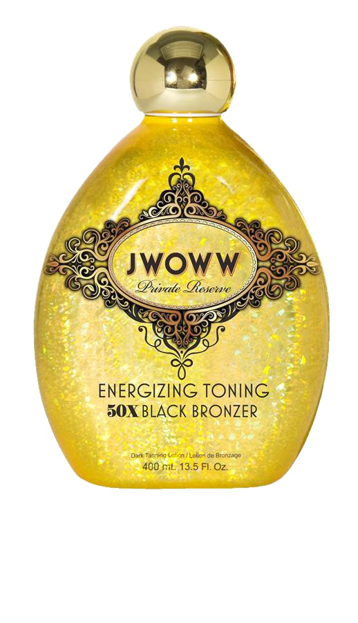 Revitalize skin and body with JWOWW's new Energizing Toning 50X Black Bronzer. The power of caffeine not only awakens you, but stimulates skin causing the appearance of wrinkles to virtually diminish. Paired with a blend of vitamins that support skins healthy nutrients to firm and tighten skin. It's like an energy drink for your skin! The 50X Bronzers provide immediate and intense color. Skin will look undeniably bronze and toned. You'll feel as sexy as ever!: 50X Black, Black Bronzer, 50X Bronzers, Toning 50X, Energizing Toning, Products, Skin