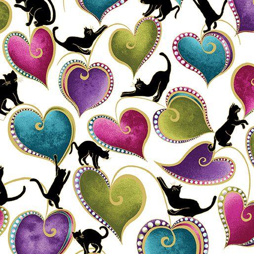 Benartex - Cat-I-tude 4202M-09 HEARTS AND CATS WHITE-MULTI
