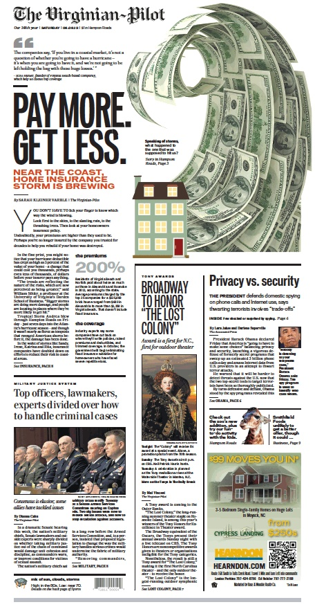 The Virginian-Pilot's front page for Saturday, June 8, 2013.