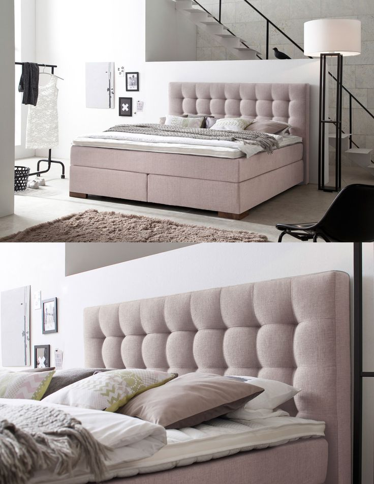 boxspringbett areo mit diesem boxspringbett in pastellros zieht. Black Bedroom Furniture Sets. Home Design Ideas