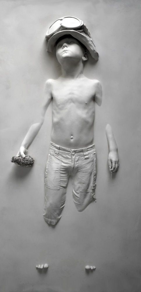 "London West Bank Gallery — ""Boy Soldier White"" Life-cast resin composition by Schoony"