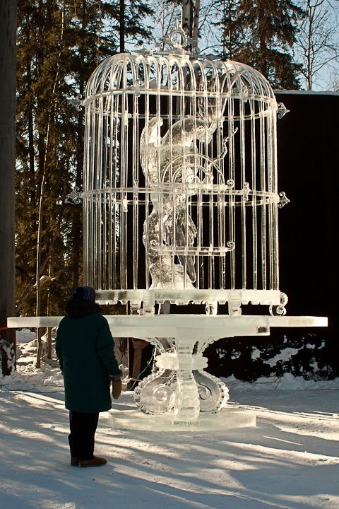 Fairbanks, Alaska. World Ice Art Champtionships, single block .....ice sculpture