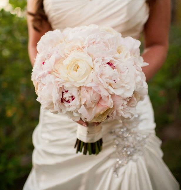 bridal bouquet of blush peonies and cream garden roses by flowers by amor
