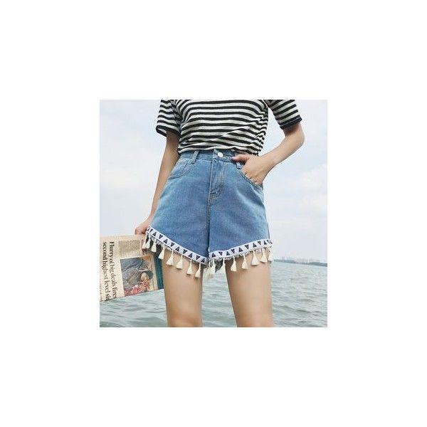 Tasseled Denim Shorts (51 BRL) ❤ liked on Polyvore featuring shorts, women, light blue jean shorts, light blue shorts, tassel shorts, short denim shorts and light blue denim shorts