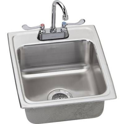"""Elkay LRAD172065C 17"""" Drop-In Stainless Bar Sink w/Commercial Faucet Drain"""
