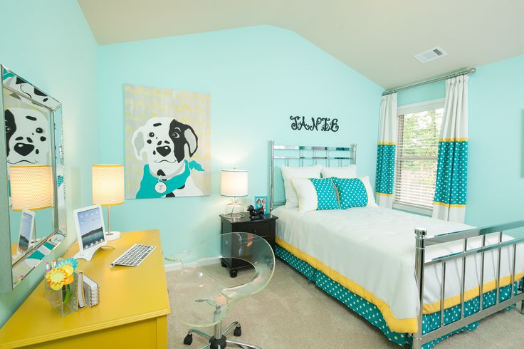 Bright aqua kids bedroom decor idea. Hidden Forest