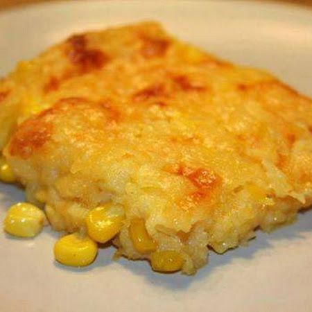 Corn casserole: (15 oz) can whole kernel corn, drained  1 (15 oz) can cream-style corn  1 package Jiffy corn muffin mix (8 oz.)  1 cup sour cream  ½ cup butter, melted  1 cup shredded cheddar cheese or your favorite