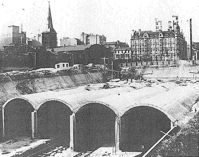 Sydney City Underground Railway on 22 January 1925.Site under Hyde Park.St James is visible on the left.The Victorian building is on the current Supreme Court site.A♥W