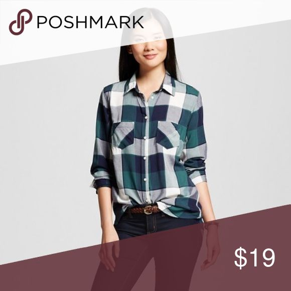 Checkered Plaid Button Down Shirt Very soft and cozy button down shirt! New with tags. Merona brand. Colors are Navy blue, green and white Merona Tops Button Down Shirts