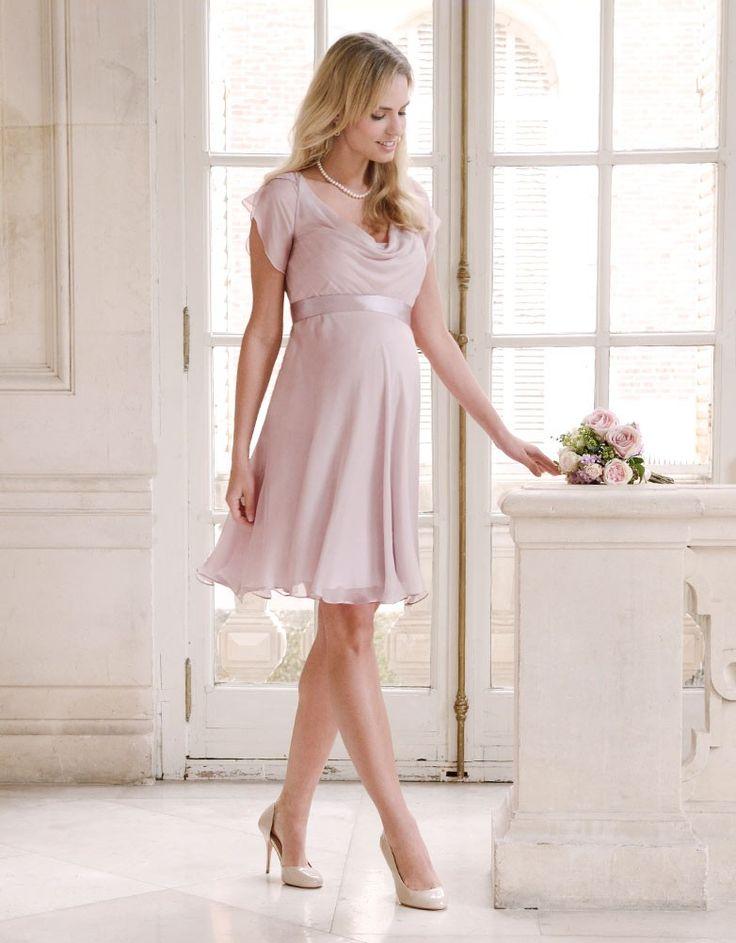 Blush Silk Chiffon Maternity Dress | Seraphine