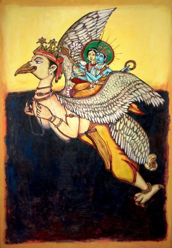 Garuda/Rothko acrylic painting 36x24 on Sale/ Lord Vishnu and Lutchmi seated on Garuda