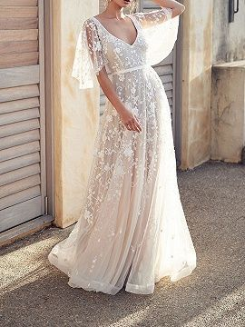 White V-neck Open Back Flare Sleeve Women Lace Maxi Dress | Choies – #Choies #Dr…