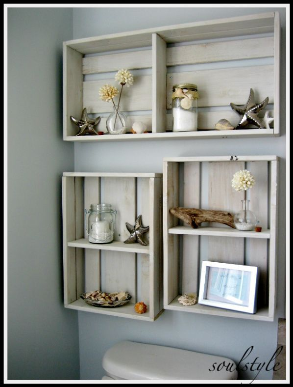 DIY:: Simple Wall Crate Shelves | Uses For Pallets (crates & cable re ...