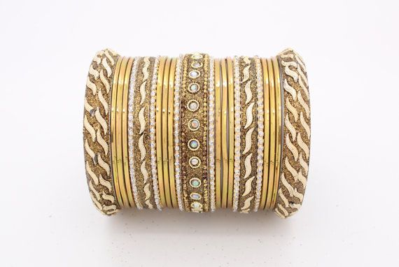 23 Gold Diamante Indian Bangles Indian Churi Bollywood by Glimour