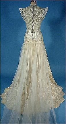 c. 1940's Wedding Gown of Candlewhite Satin and Lace with Original Satin Sandals, Gauntlet Lace Gloves and Original JAY THORPE Headpiece with Tulle Short Veil. Back