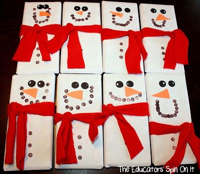 Snowmen Candy Bars Make Great Teacher Gifts from The Educators' Spin On It