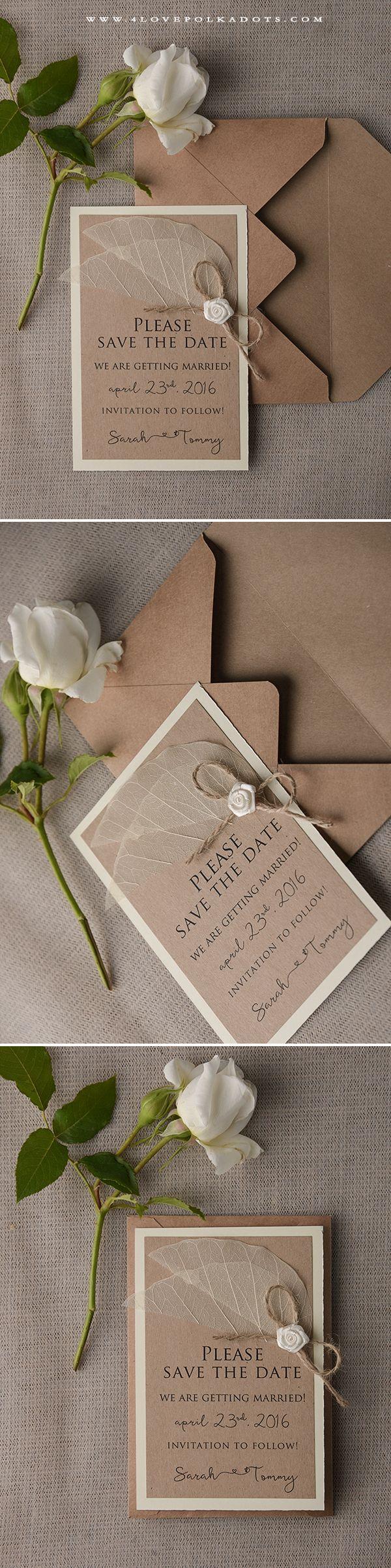 Save the Date Card with Flower bow & leaf #weddingideas