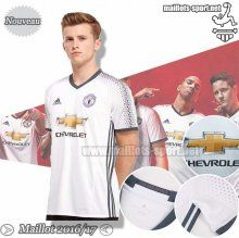 Personnalise Ensemble Maillot Foot Manchester United Blanc/Noir 2016-2017 Third | Maillots-Sport