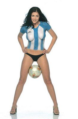 Argentina Body Painting Soccer Girl