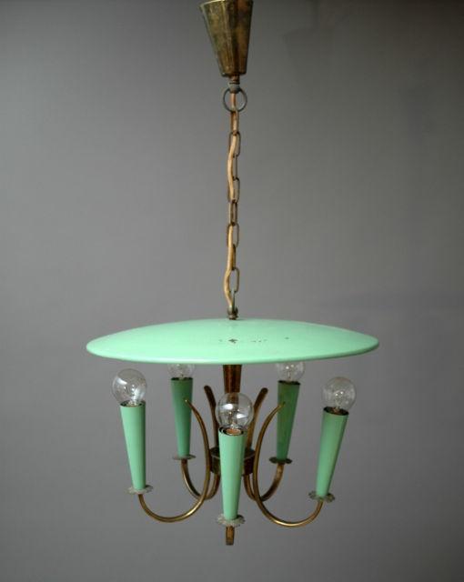Lovely Mid Century Modern Brass Lamp Atomic Mint Green 50s Chandelier