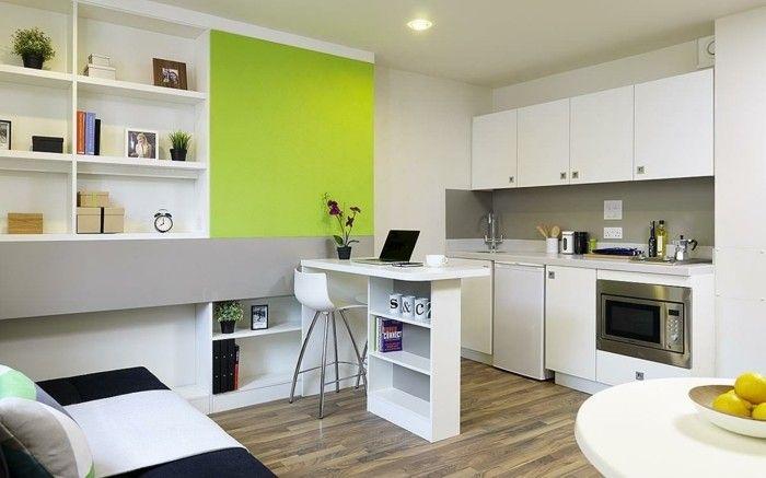 idee deco studio, cuisine bien équipée, appartement moderne